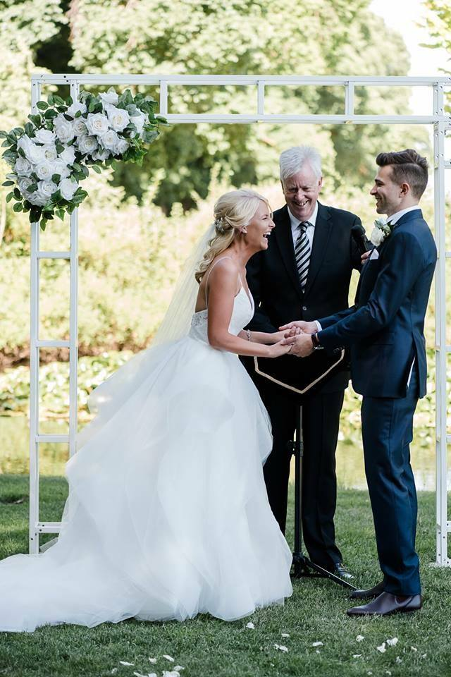 Classical White Arbour at wedding ceremony